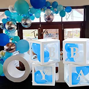 Baby Boxes with Letters for Boy Baby Shower, Baby Shower Decorations Balloons Boxes for Boy - Baby Transparent Balloon Box for Boy with Letters Includes White, Blue and Baby Blue Balloons Gender Reveal Decor, Newborn Photos, Baby Shower Boxes for Boy