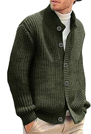 PJ PAUL JONES Mens Stylish Stand Collar Cable Knitted Button Cardigan Sweater