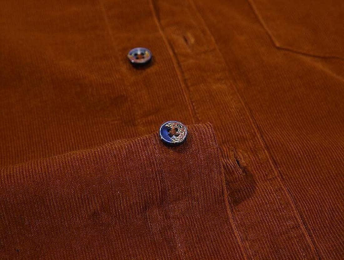 ARTFFEL Men Casual Slim Long Sleeve Corduroy Solid Color Button Down Dress Shirt