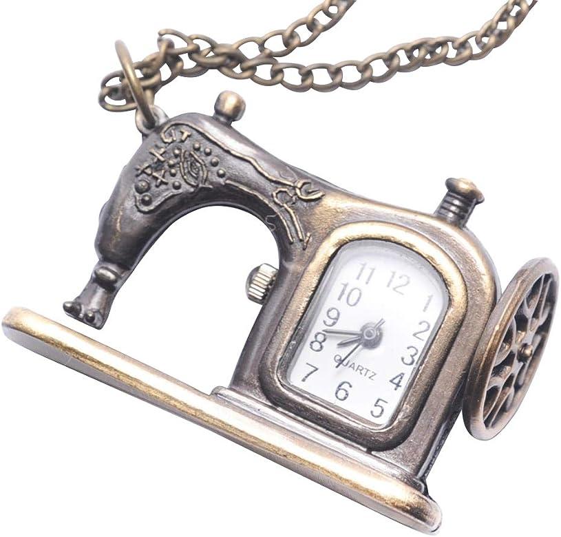 81stgeneration Collar Colgante Reloj de Bolsillo Analógico Cuarzo Máquina de Coser Antigua Mujer Latón, 78 cm: Amazon.es: Joyería