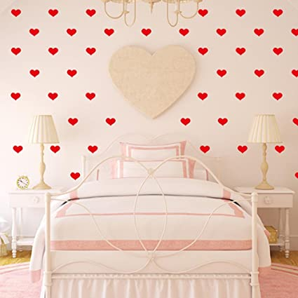 BIBITIME Red 72 Pcs Vinyl Lovers Hearts Wall Stickers Girls Couple Bedroom  Valentines Day Wall Decals