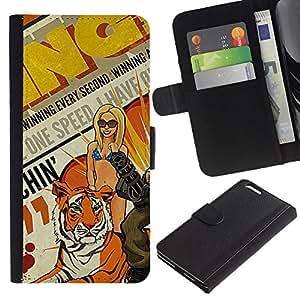 KLONGSHOP // Tirón de la caja Cartera de cuero con ranuras para tarjetas - Arte pop de la vendimia - Apple Iphone 6 PLUS 5.5 //