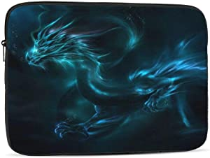 13 15 Inch Laptop Sleeve Bag Compatible with MacBook Pro Air Waterproof Shock Resistant Notebook Protective Bag Carrying Case with Small Case - Cool Blue Dragon Design