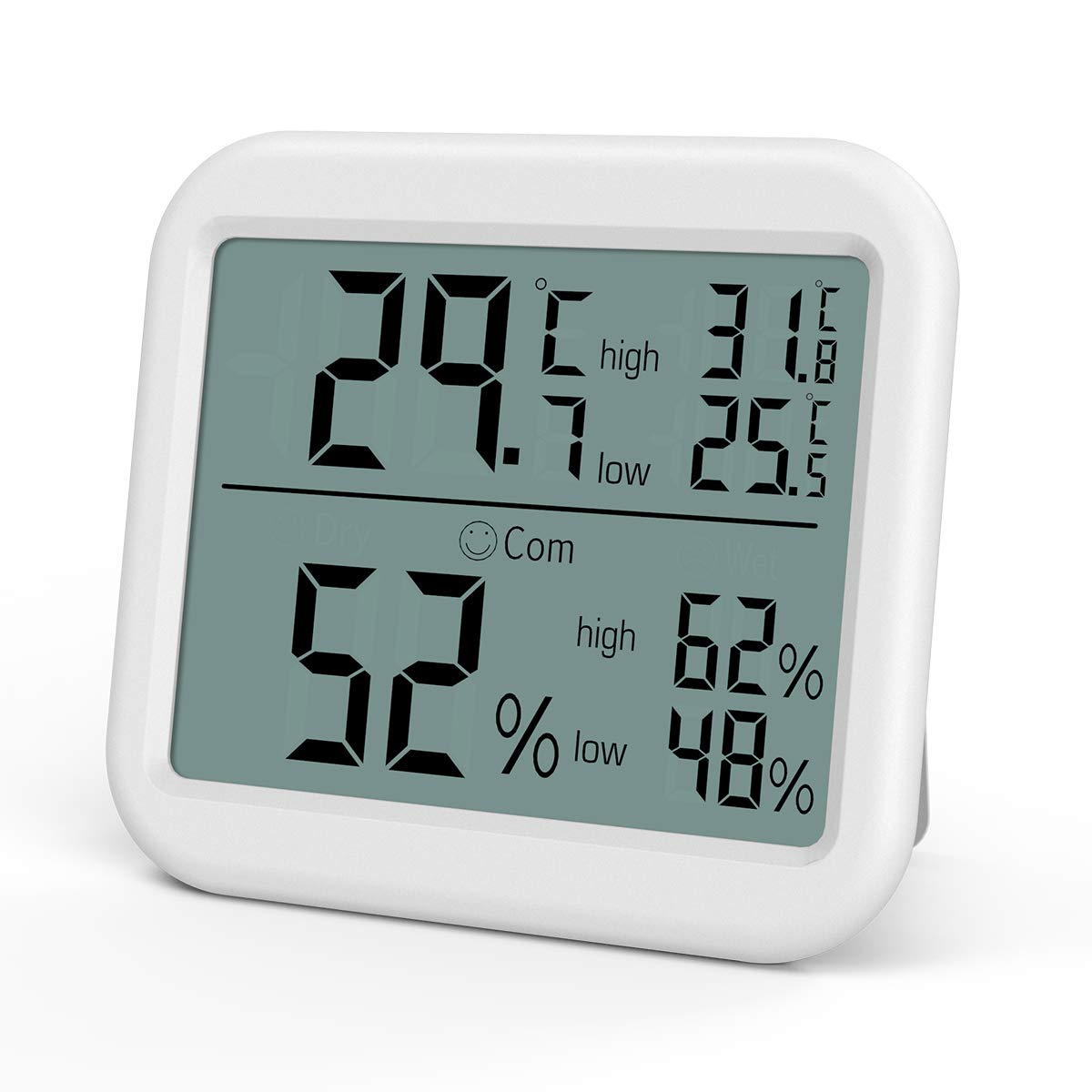 Oria Digital Hygrometer Thermometer, Indoor Temperature Meter, Humidity Monitor with Large LCD Screen, MIN MAX Record, Comfort Indicators, ℃/℉Switch, Magnet/Tabletop/Hanging for Home, Office, Nursery ℃ /℉ Switch