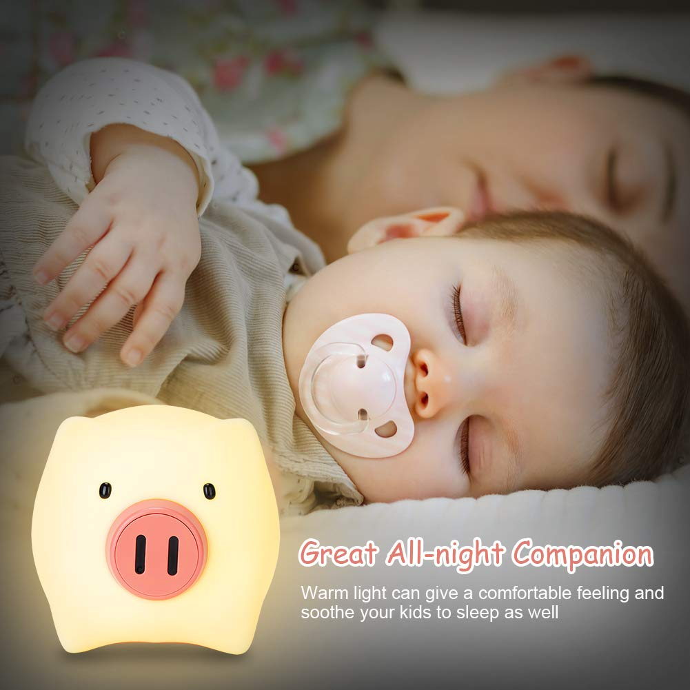 YISSVIC Children Night Light Kids Bedside Lights Silicone Lamp with Timing Function for Baby Bedroom Birthday Gift