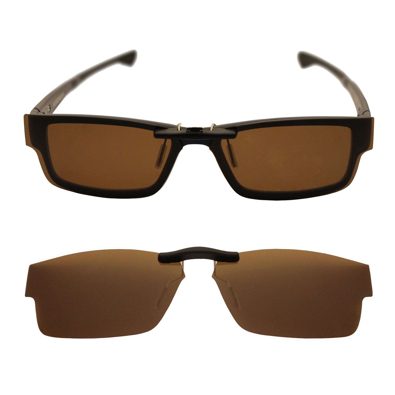 Custom Polarized Clip On Sunglasses for Oakley Airdrop 55 OX8046 55-18-143 (Brown)