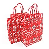 Yamalans Christmas Gift Candy Bag Cartoon Santa Claus Reindeer Pattern Kraft Paper Gift Bag Candy Storage Party Favor Random Style S