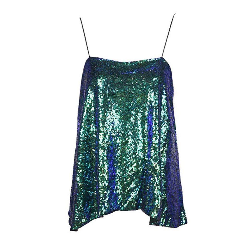 Lelili Womens Sleeveless Sparkly Sequin Shoulder Strap Tank Tops Fashion Ruffle Hem Casual Party Nightclub Shirt