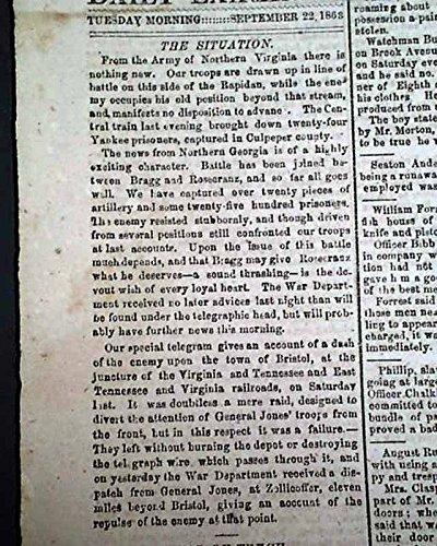 CONFEDERATE Battle of Chickamauga Chattanooga TN GA Civil War 1863 Newspaper DAILY RICHMOND EXAMINER, Virginia, Sept. 22, 1863 1863 Civil War Newspaper