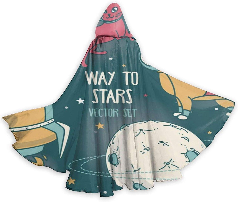 TYHG - Capa unisex con capucha para adultos, para Halloween, juego de roles, 3D, para gatos espaciales, astronauta para perro, planeta, fiesta de Navidad, para mujeres, hombres, cosplay