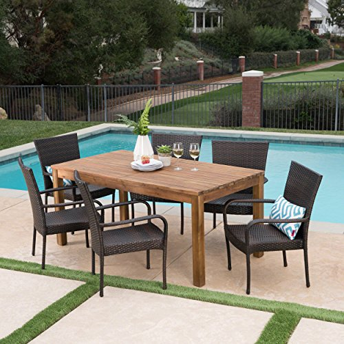 Great Deal Furniture Delilah Outdoor 7 Piece Multibrown Wicker Dining Set with Teak Finished Acacia Wood Expandable Dining (Expandable Teak Dining Table)