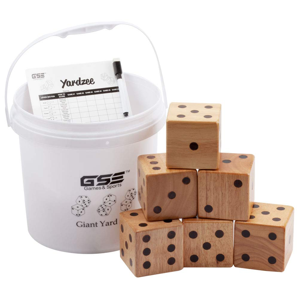 GSE Games & Sports Expert 3.5-Inch Giant Yard Dice Set with Bucket. Yardzee & Farkle Giant Yard Dice Set for Outdoor, Backyard Lawn Game Set (Dice Set with Bucket)