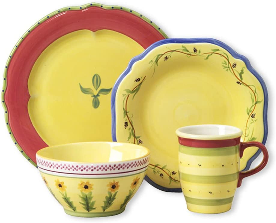 American Made Dinner ware - Pfaltzgraff Pistoulet Dinnerware Set, 16 Piece, Yellow and Red