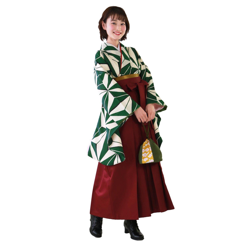卒業式 袴 ブーツ付き 16点フルセット 緑地に麻の葉模様 〔zu〕 B079DQVB74 袴Sサイズ ブーツ23.5cm