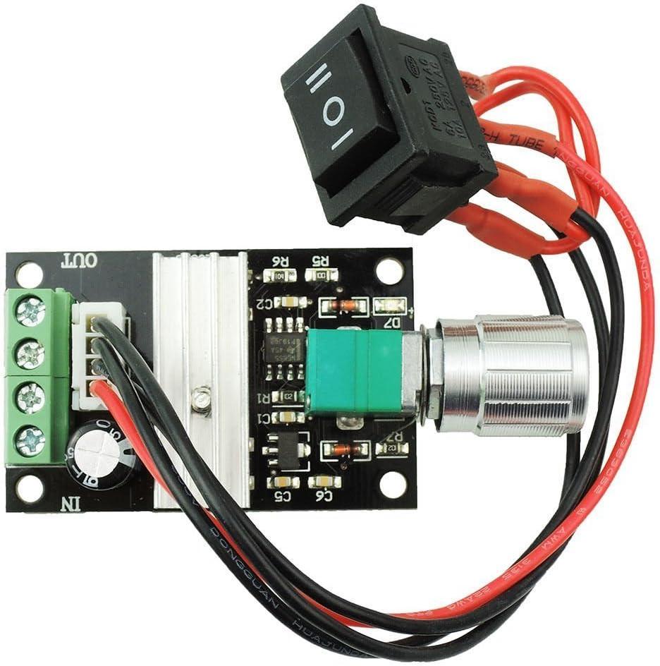 Yosoo 6V 12V 24V 3A DC Controlador de Velocidad del Motor PWM de Control del Motor de Velocidad Ajustable Interruptor Reversible Regulador 1203BB DC Conductor del Motor de Marcha Atrás