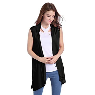 Lusiyu Women's Slim Fit Sleeveless Open Front Cardigan Vest Asymmetric Hem XL Black at Women's Clothing store