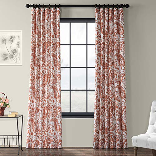 (HPD Half Price Drapes Printed Cotton Curtain, 50 x 84, Rust)