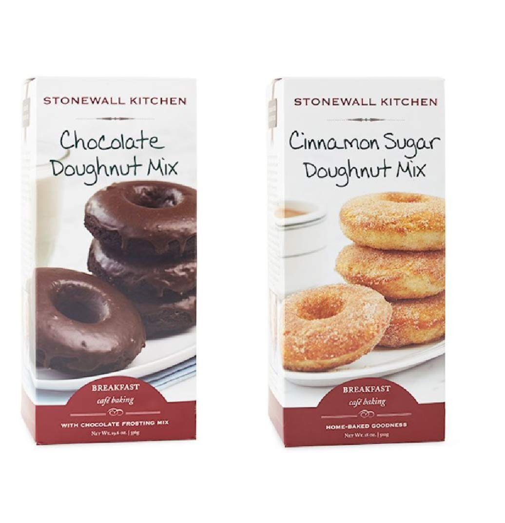 Stonewall Kitchen Doughnut Mix Bundle Including Chocolate and Cinnamon Sugar Flavors