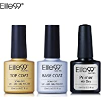 Base Top Coat Semi Permanent Elite99 Vernis à Ongles Vernis Semi Permanent UV LED Soak Off Nail Polish avec Primer Vernis gel 10ml