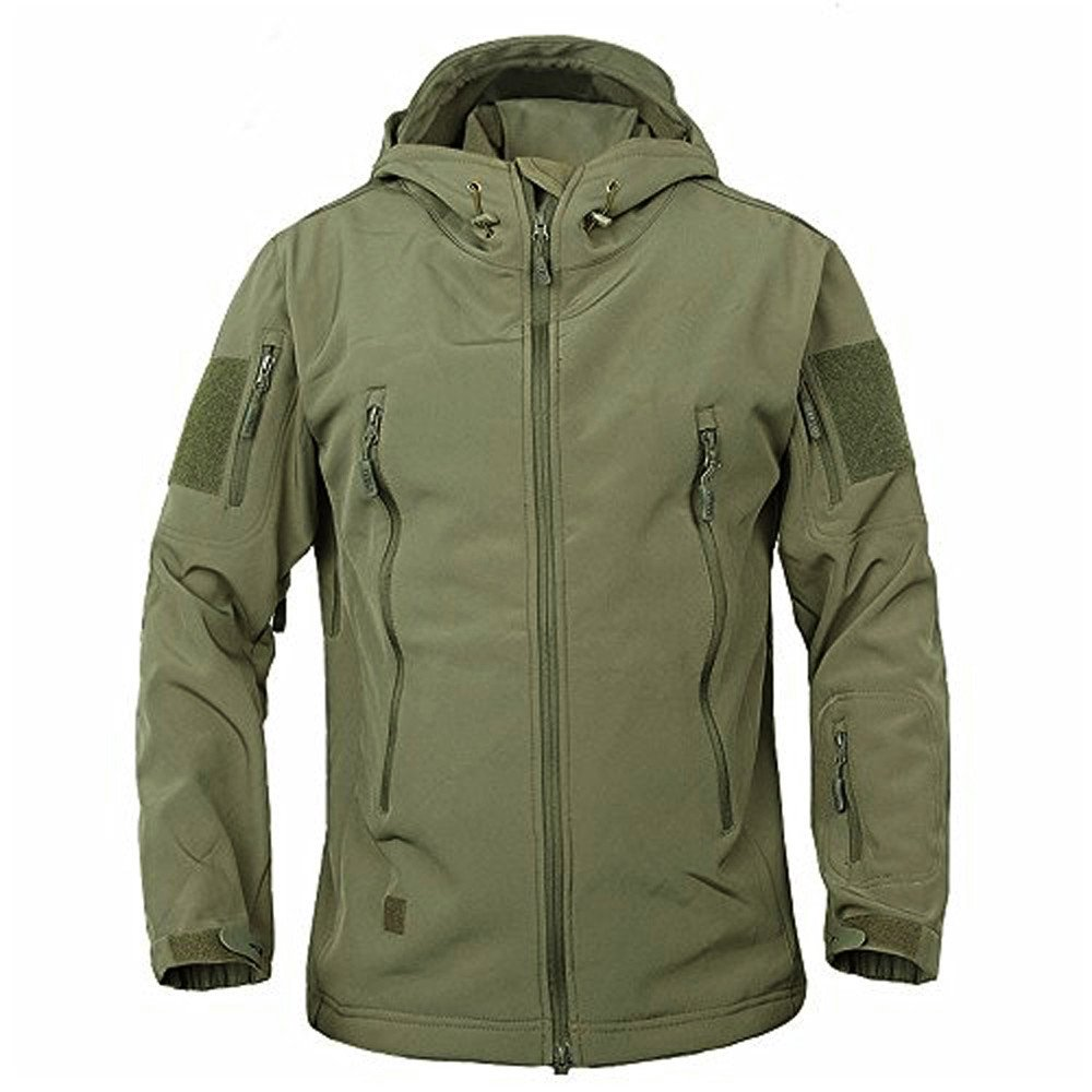 TACVASEN Men's Military Softshell Tactical Jacket Hooded Fleece Coat by TACVASEN