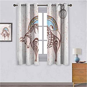All of better Grommet Light Blocking Curtain,Kids Curtains ZodiacAncient Horoscope Icon Taurus with Bull Figure on Grungy Prediction Graphic Design Thermal Curtains Brown Beige W84 X L54 inch