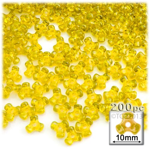 The Crafts Outlet 1000-Piece Plastic Transparent Tri Beads, 10mm, Acid Yellow
