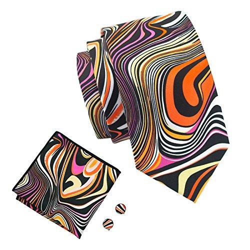 Novelty Ties Silk Necktie Hanky Cufflinks Set Fashion Men]()