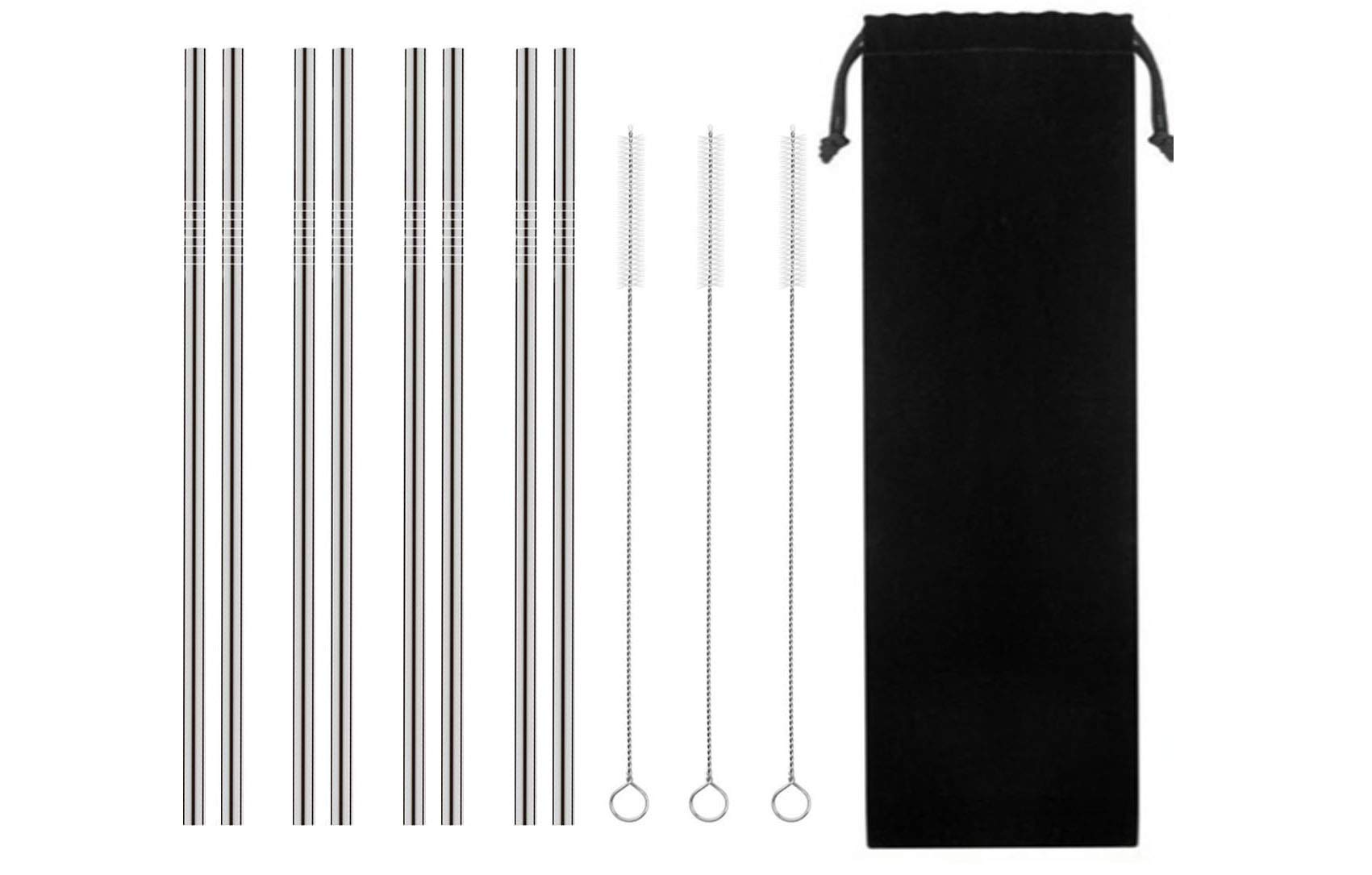 Stainless Steel Drinking Straw, TKTM Set of 8 Reusable Metal Straws for 20 30 oz(10.5''0.24 Straight)