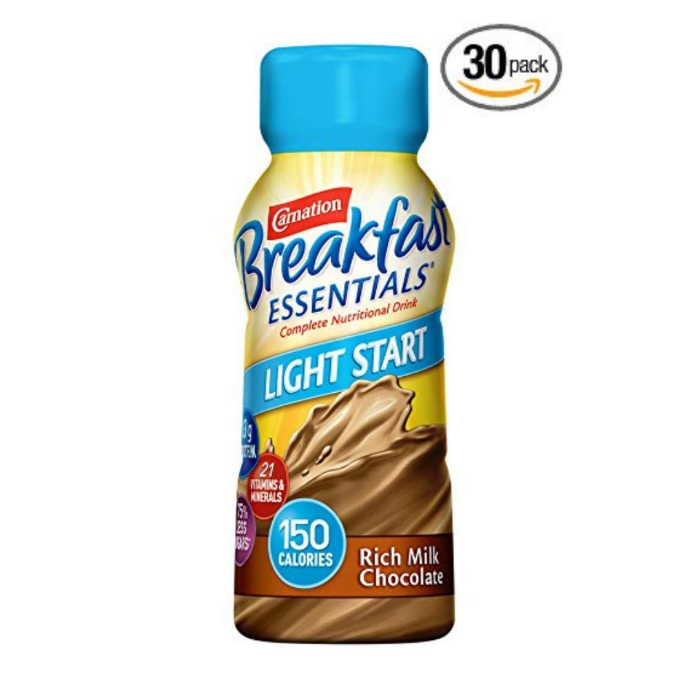 Carnation Breakfast Essentials Light Start Ready-to-Drink, Rich Milk Chocolate, 8 Fl Oz Bottle - Pack of 30