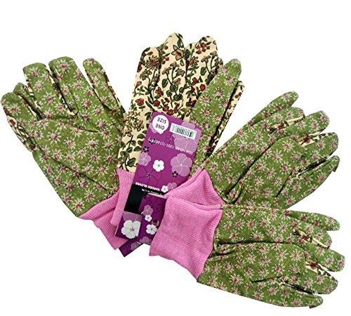 Ladies Size Multi-Color Floral Pattern Gardening Gloves With Knit Wrist