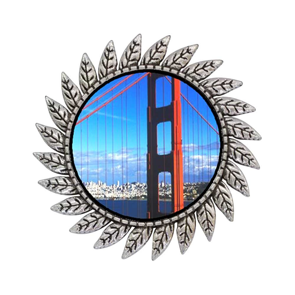 GiftJewelryShop Ancient Style Silver Plate Travel Golden Gate Bridge Hot Style Gear Round Pin Brooch