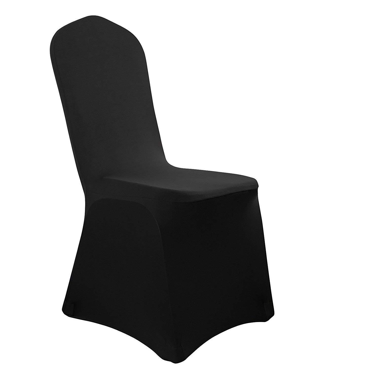 Malayas Stuhl Husse Universell Stuhlhussen Stretch Stuhlbezug Stuhlüberzug der Haus Hochzeit Dekoration (50 Stück,Schwarz)