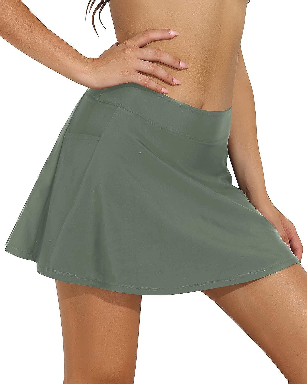 Firpearl Womens Swim Skirt High Waist Bikini Bottom Athletic Skirted Swimsuit Bottom