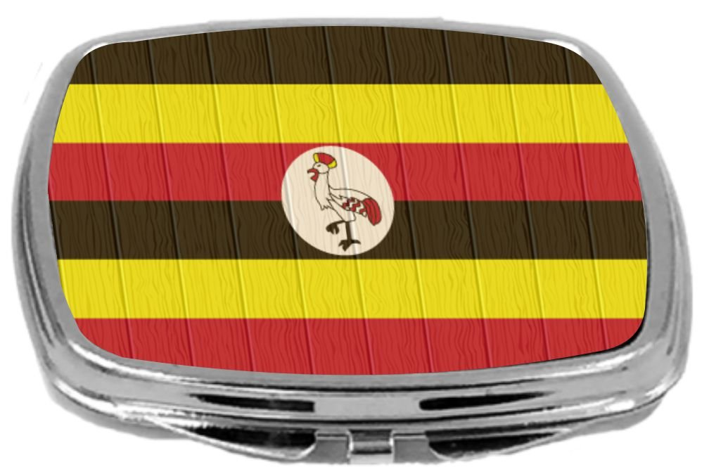 Rikki Knight Compact Mirror on Distressed Wood Design, Uganda Flag, 3 Ounce