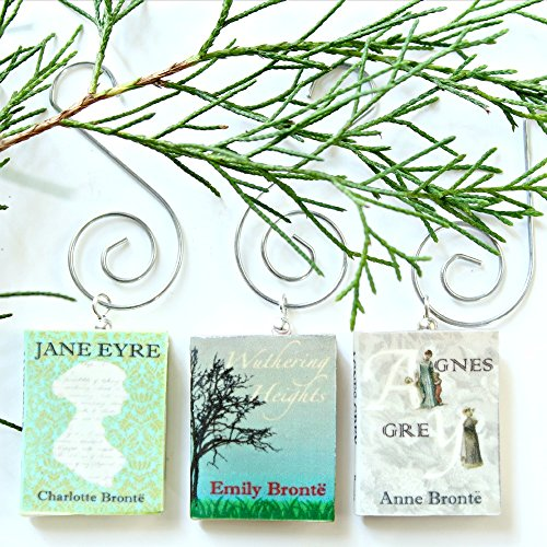 Bronte Sisters Mini Book Ornament Set from Polymer Clay by Book Beads (3 pc Pendant Set) Choose Your Hanger