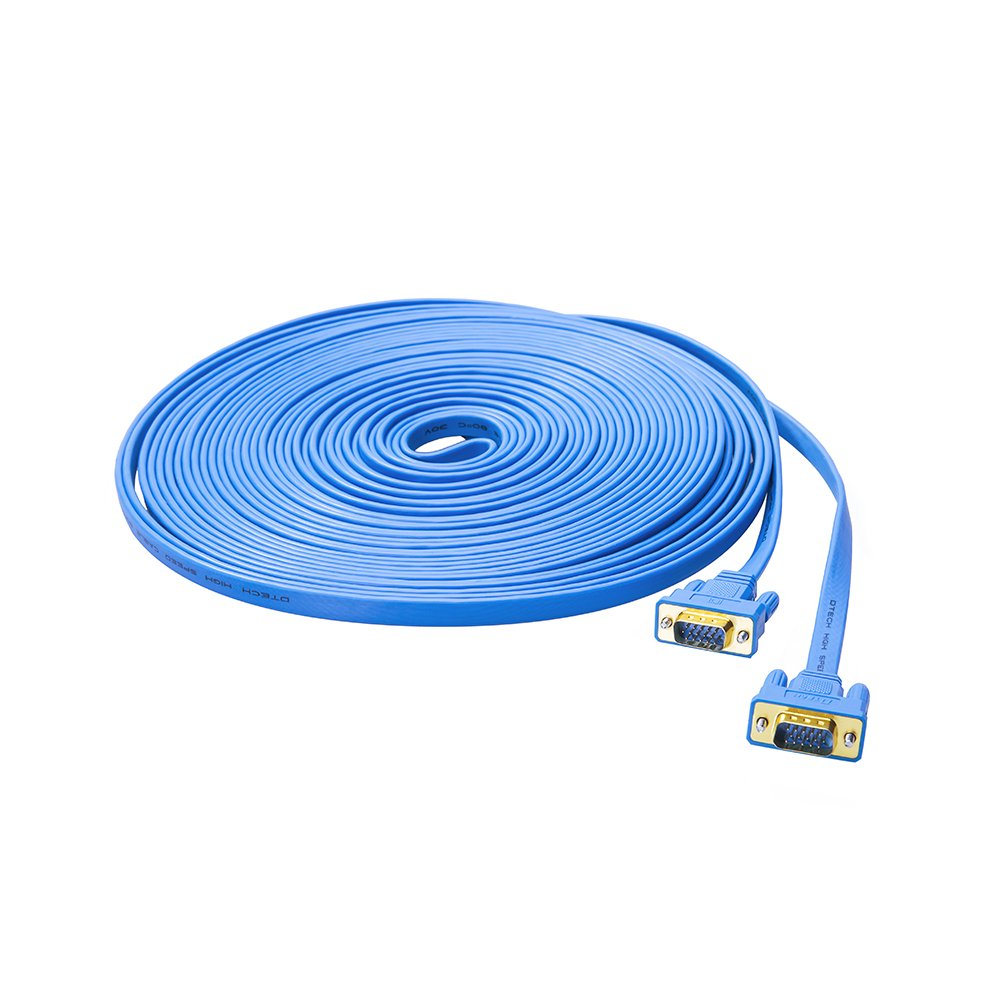 DTECH 50ft Flat Extra Long VGA Cable for Computer Monitor - Male to Male - Blue by DTech