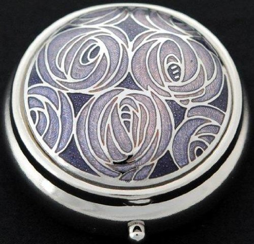 Pill Box in a Mackintosh Roses Design. - Glasses Architect Round