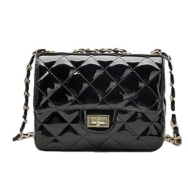 PU-Mode Kleine Quadratische Tasche Wilde Damen Tasche Messenger Bag Umhängetasche,Black-OneSize GKKXUE