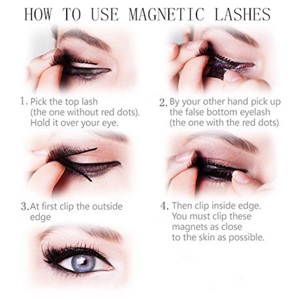 18bac997db9 Amazon.com : Long Dual Magnetic False Eyelashes, 0.2mm Ultra Thin 3D  Reusable Fake Lashes, Full Size Natural Look 1 Pair 4 Pieces-202 : Beauty