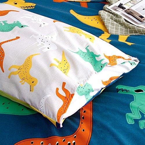 Hxiang 3-Pieces dinosaur kid's bedding set Bedding 100% Microfiber boy's Bedding Set Blue Duvet Cover Set (Twin, Blue)