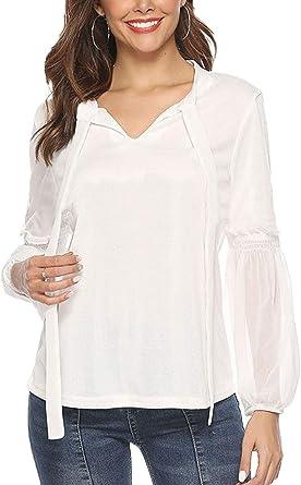 Camisas Mujer Manga Larga V-Cuello Shirt Colores Figurformend Sólidos Hippie Top s Formal Cómodo Pastel Camisetas Delgado Hipster Elástica Retro -Look: Amazon.es: Ropa y accesorios
