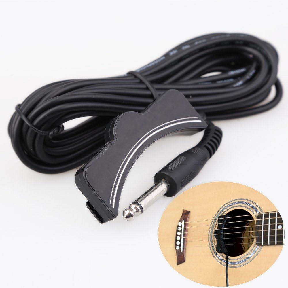 Guitarra pickup - TOOGOO(R) Clasica Acustica Guitarra Amplificacion Boca de Sonido Pickup 6.3mm Jack 5M Cable Negro