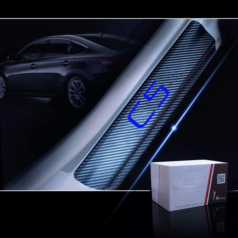 for Citroen C5 Door Sill Protector Reflective 4D Carbon Fiber Sticker Door Entry Guard Door Sill Scuff Plate Stickers Auto Accessories 4Pcs Blue
