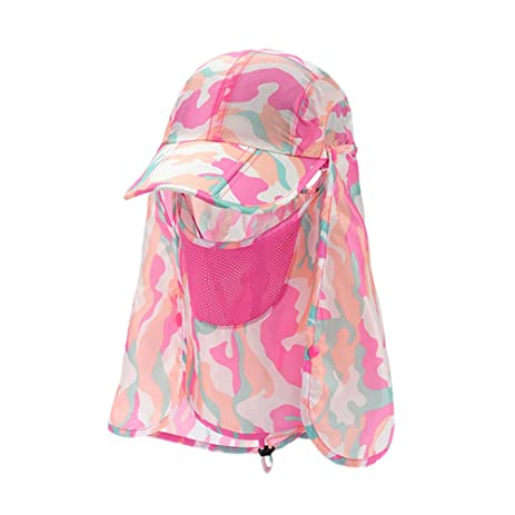 3ac2cd97d03b1 Sun Caps Fishing Hats Sports Outdoor Folding with Removable Neck Face Flap  Cover 360°Solar Protection UV 50+ Sunscreen Garden Camouflage Mosquito  Hiking ...