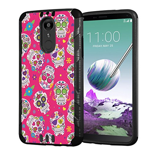 (Moriko Case Compatible with LG Stylo 4 Plus, LG Stylo 4, LG Q Stylus [Armor Layer Drop Protection Slim Fashion Shockproof Black Case] for LG Stylo 4 - (Pink Sugar Skulls))