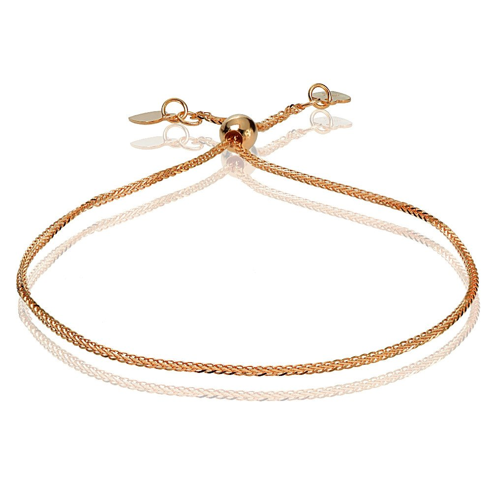 Bria Lou 14k Rose Gold .8mm Italian Spiga Wheat Adjustable Chain Bracelet, 7-9 Inches