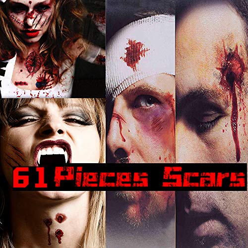Dead Looking Makeup Halloween (CHICHIC 61Pcs 12 Sheets Halloween Zombie Makeup Tattoos Stickers, Zombie Makeup Kit Temporary, Waterproof Wound Scar Tattoo, Fake Blood Makeup, Fake Scar Cuts, Vampire Skull Makeup, Safe for)