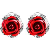 Ownsig Womens Delicate Rose Flower Rhinestone Ear Stud Earrings Red