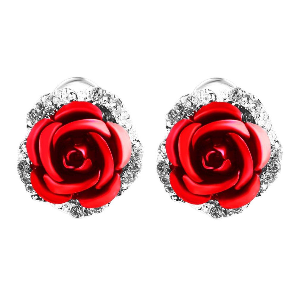 Amazon.com: Ownsig Womens Delicate Rose Flower Rhinestone Ear Stud ...