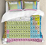 Periodic Table Duvet Cover Set by Ambesonne, Inspirational Science Chemistry Elements for Kids Learning Fun Image Print, 3 Piece Bedding Set with Pillow Shams, Queen / Full, Multicolor